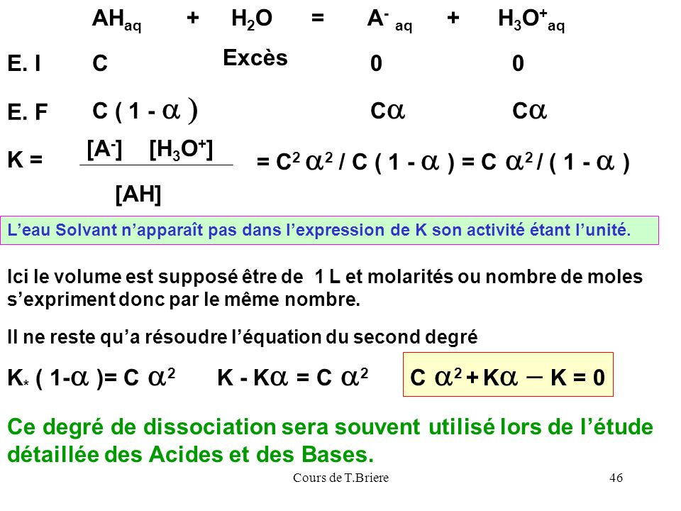 AHaq + H2O = A- aq + H3O+aq E. I C Excès C ( 1 - a ) Ca E. F [A-]